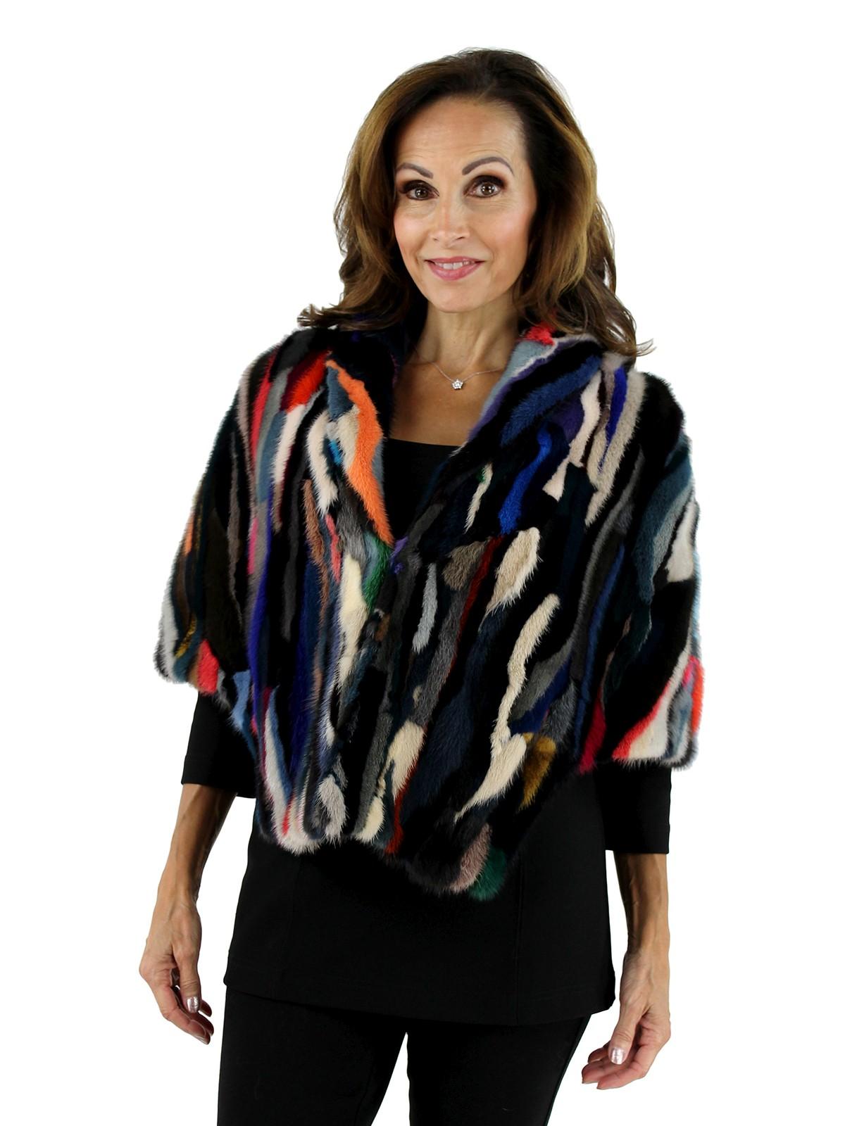 Woman's Multi-Color Mink Section Fur Stole