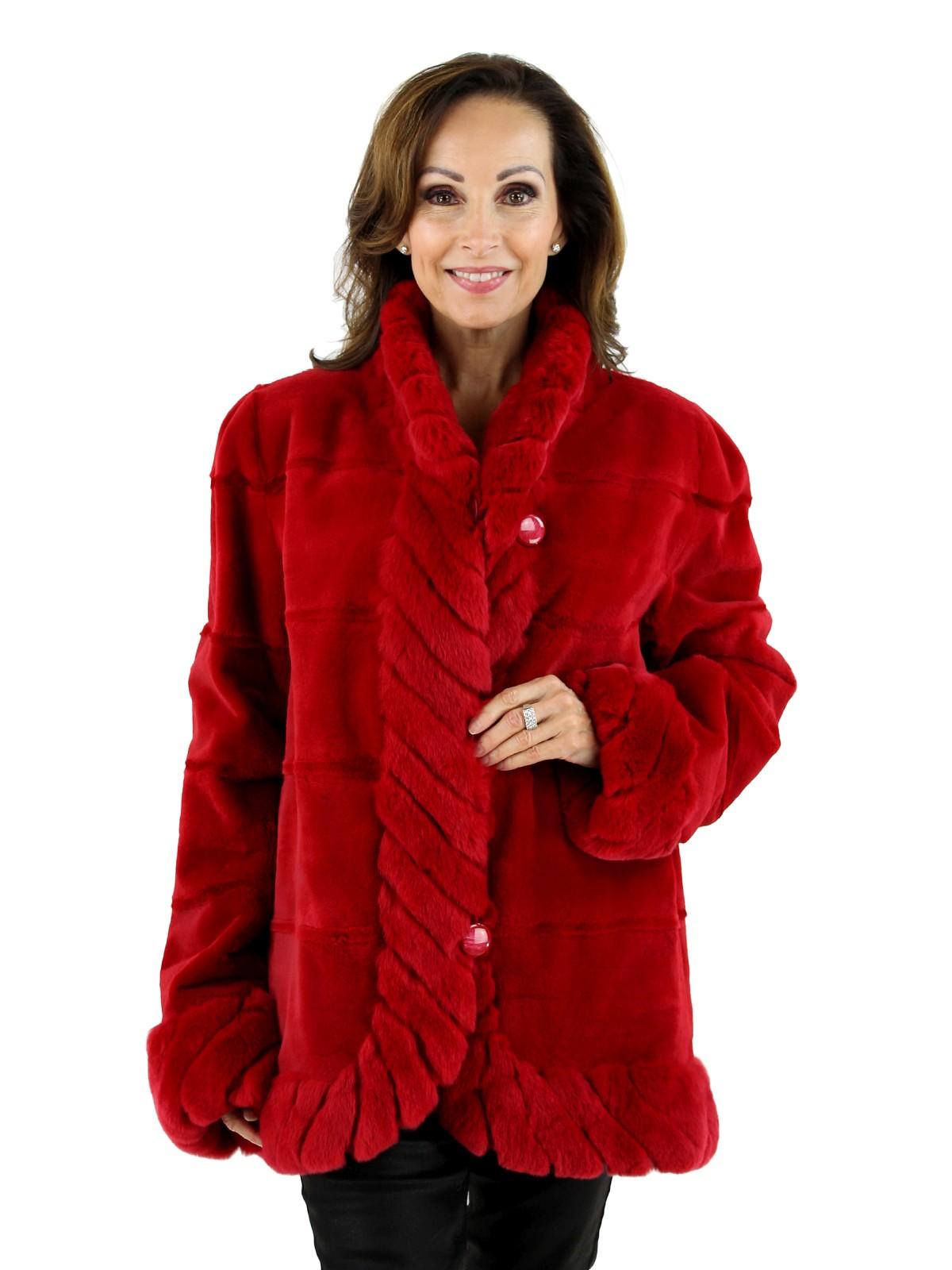 Woman's Red Sheared Mink Fur Jacket