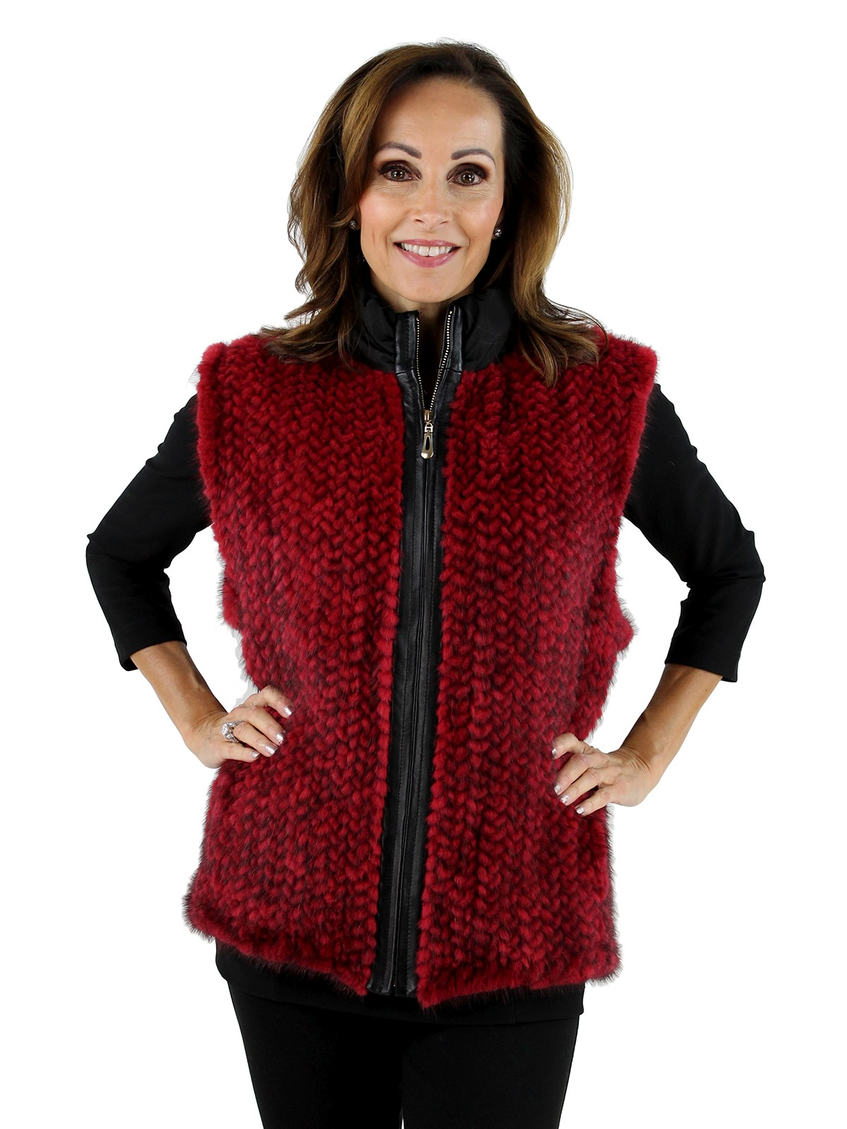 Woman's Red Knit Mink Fur and Black Taffeta Vest
