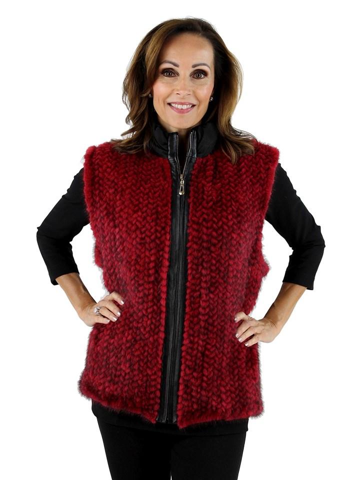 Woman's Red Knit Mink Fur and Black Taffeta Vest