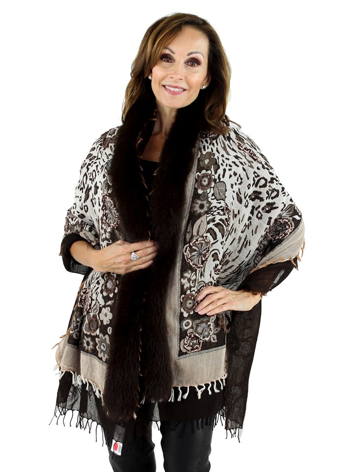 Woman's Multi Brown Woven Wool Fabric Shawl with Fox Fur Trim