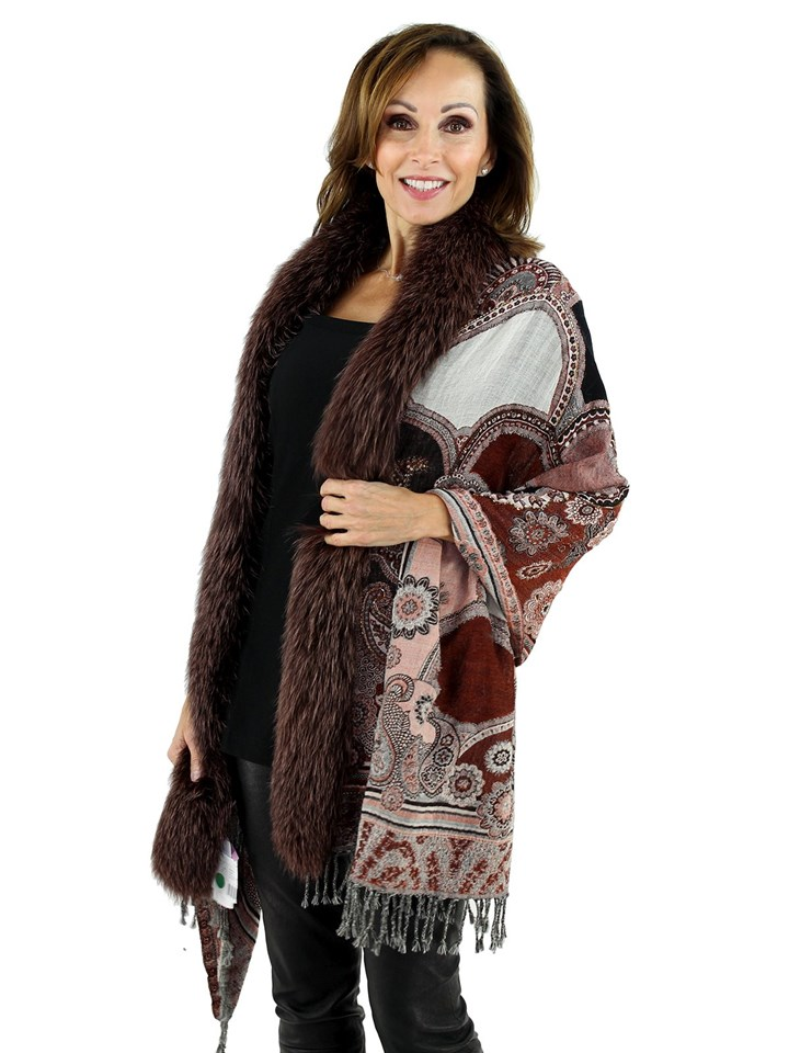 Women's Multi Brown Woven Wool Fabric Shawl with Fox Fur Trim