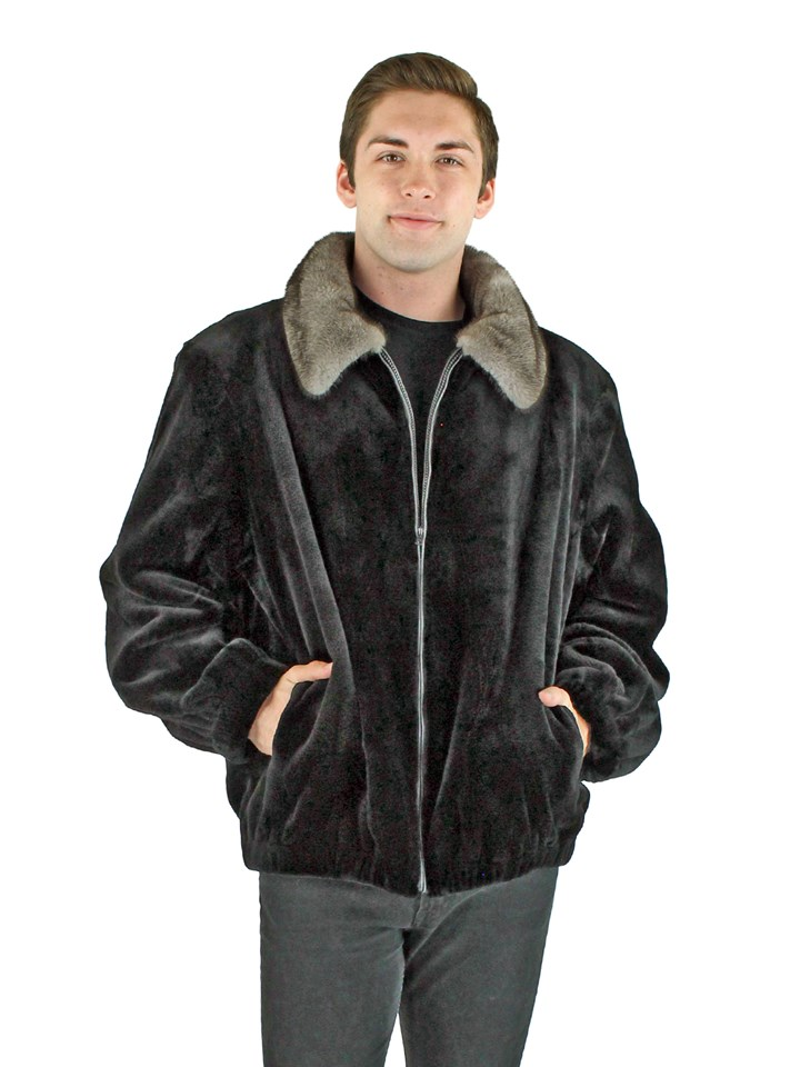 Man's Black Sheared Mink Fur Jacket with Blue Iris Mink Collar