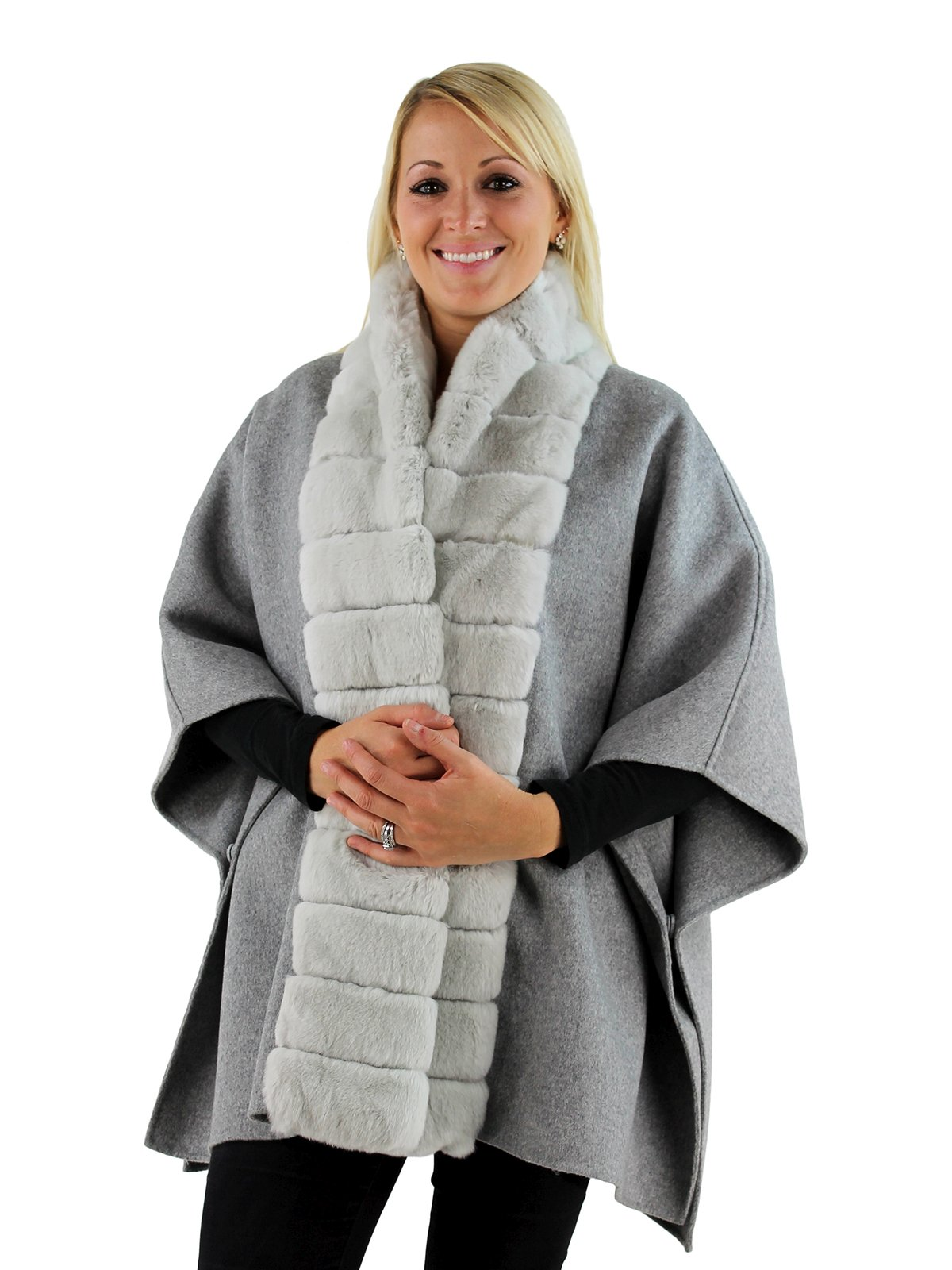 Gorski Woman's Grey Wool Cape with Rex Rabbit Fur Trim