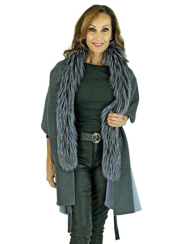 Woman's Grey and Silver Double Face Cashmere Wool Capelet with Fox Trim
