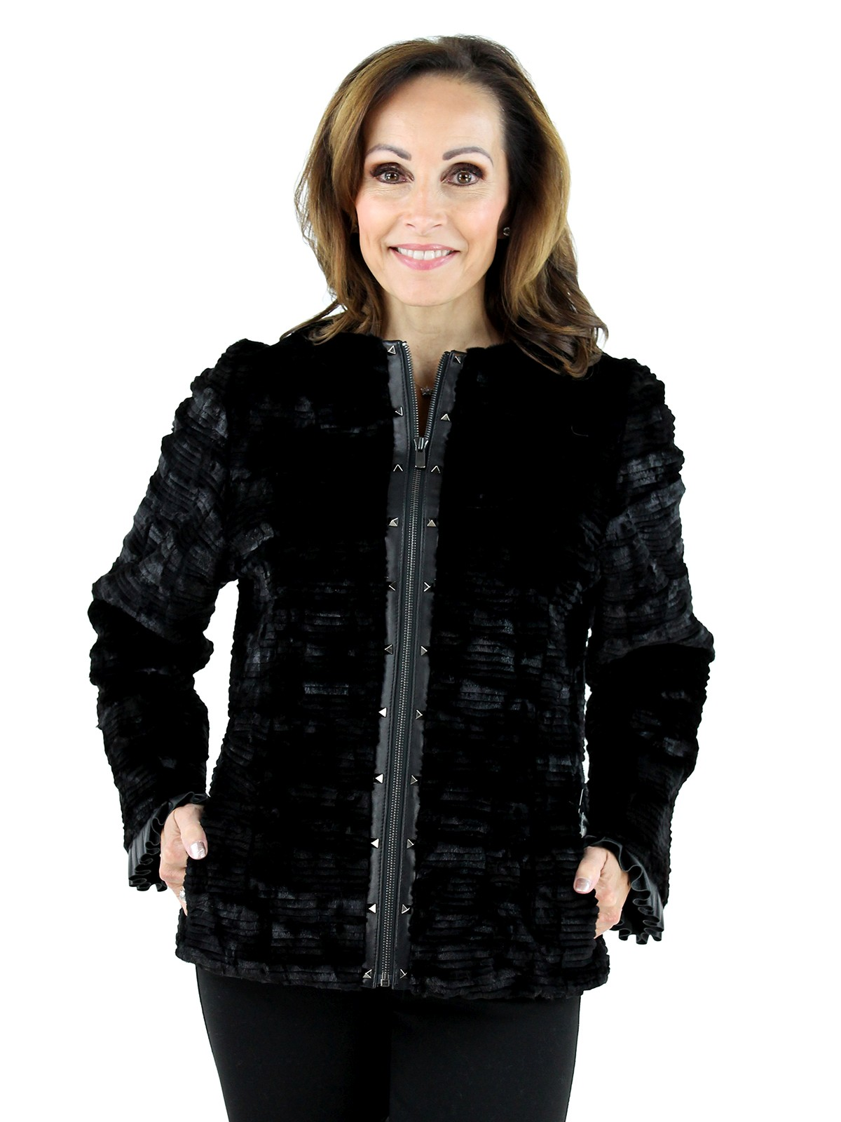 Gorski Woman's  Black Grooved Mink Fur Section Jacket