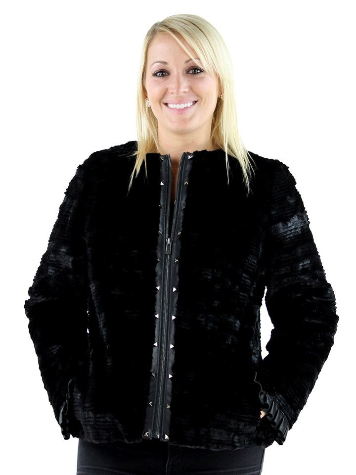Gorski Woman's Black Grooved Mink Section Fur Jacket