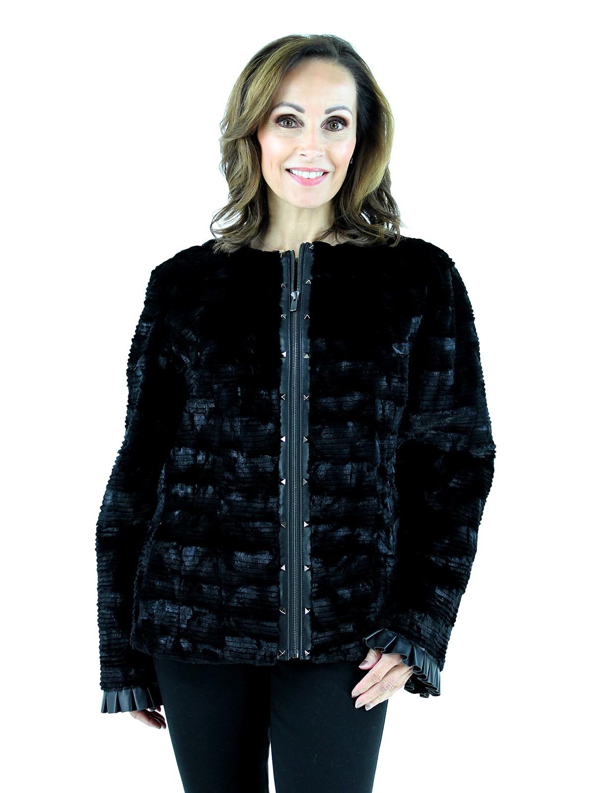 Gorski Woman's  Black Grooved Mink Fur Section Jacket