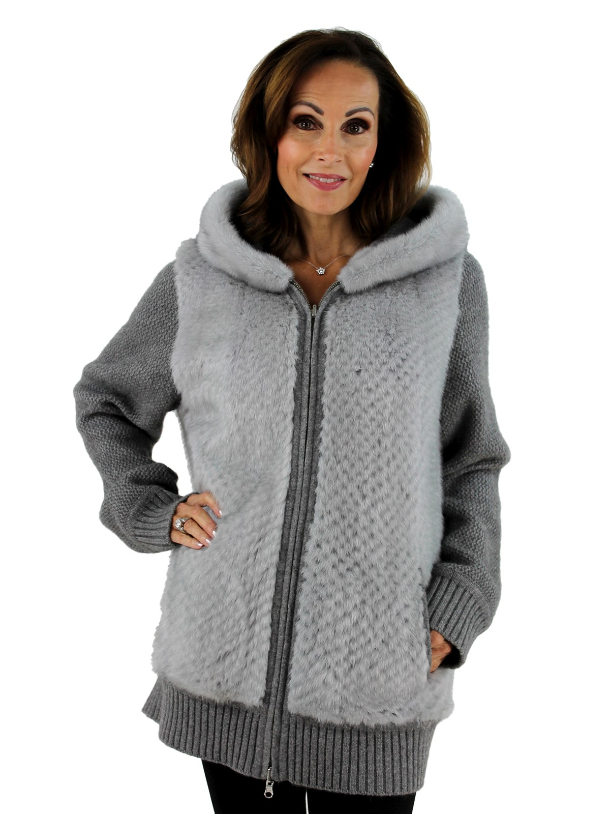 Gorski Woman's Grey Mink Fur Punch Jacket
