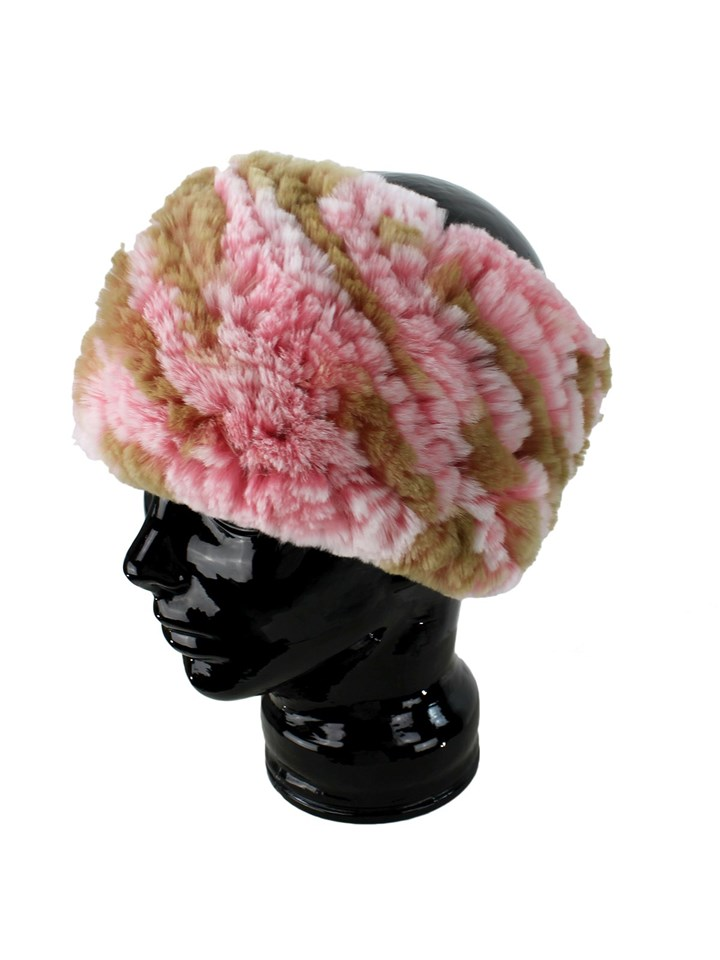 Gorski Woman's Multi Pink Knit Rex Rabbit Fur Stretch Headband