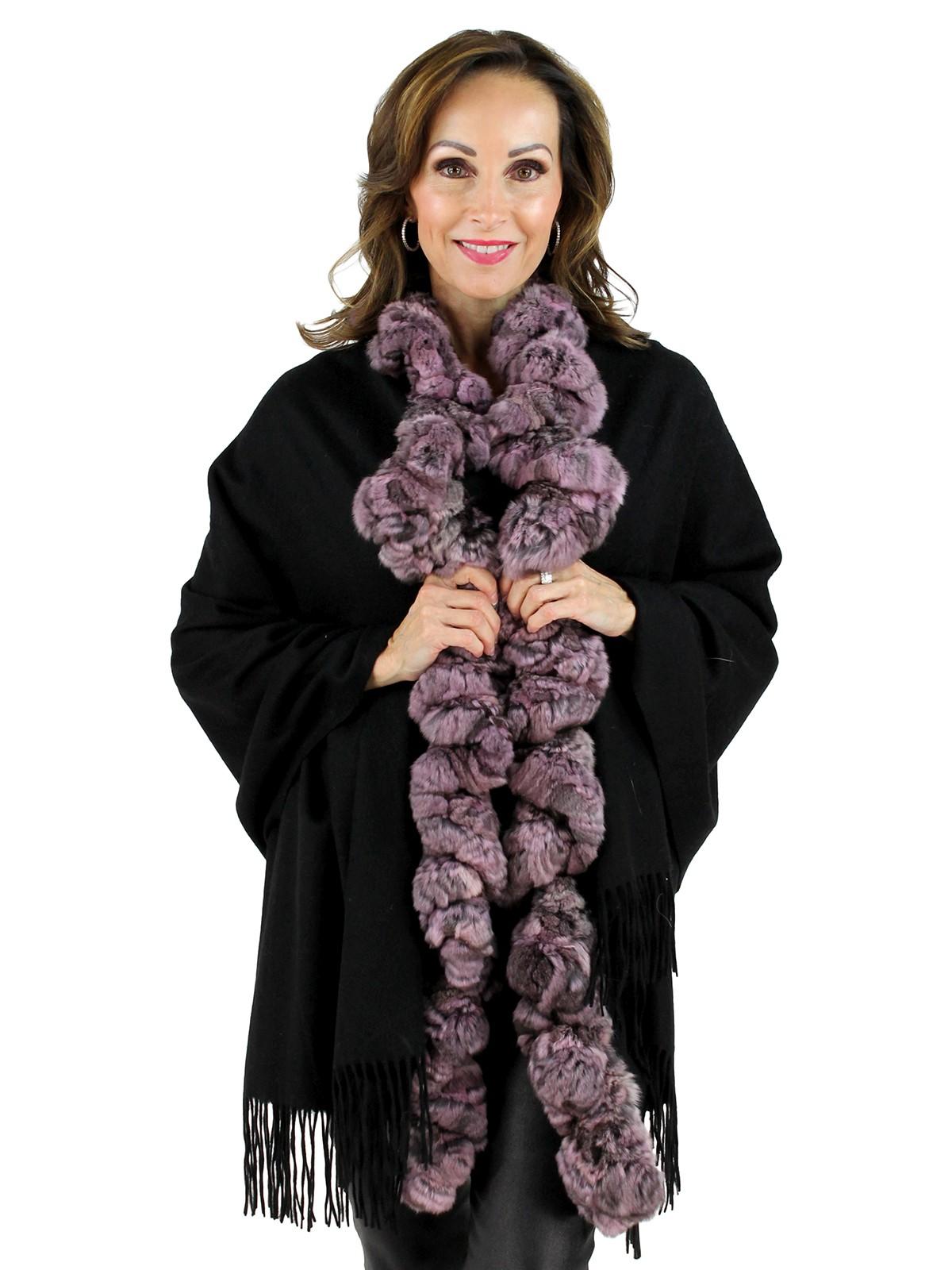 Black Cashmere Pink Chinchilla Stole