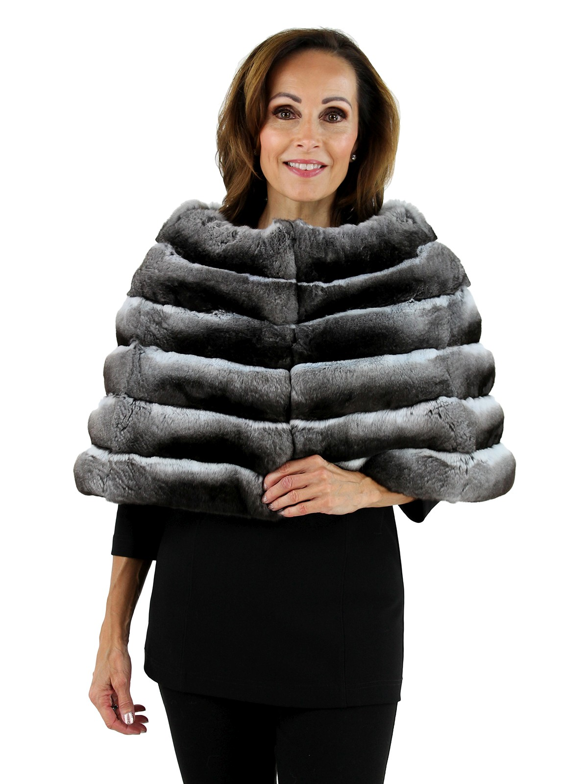 Gorski Woman's Grey Horizontal Chinchilla Fur Cape