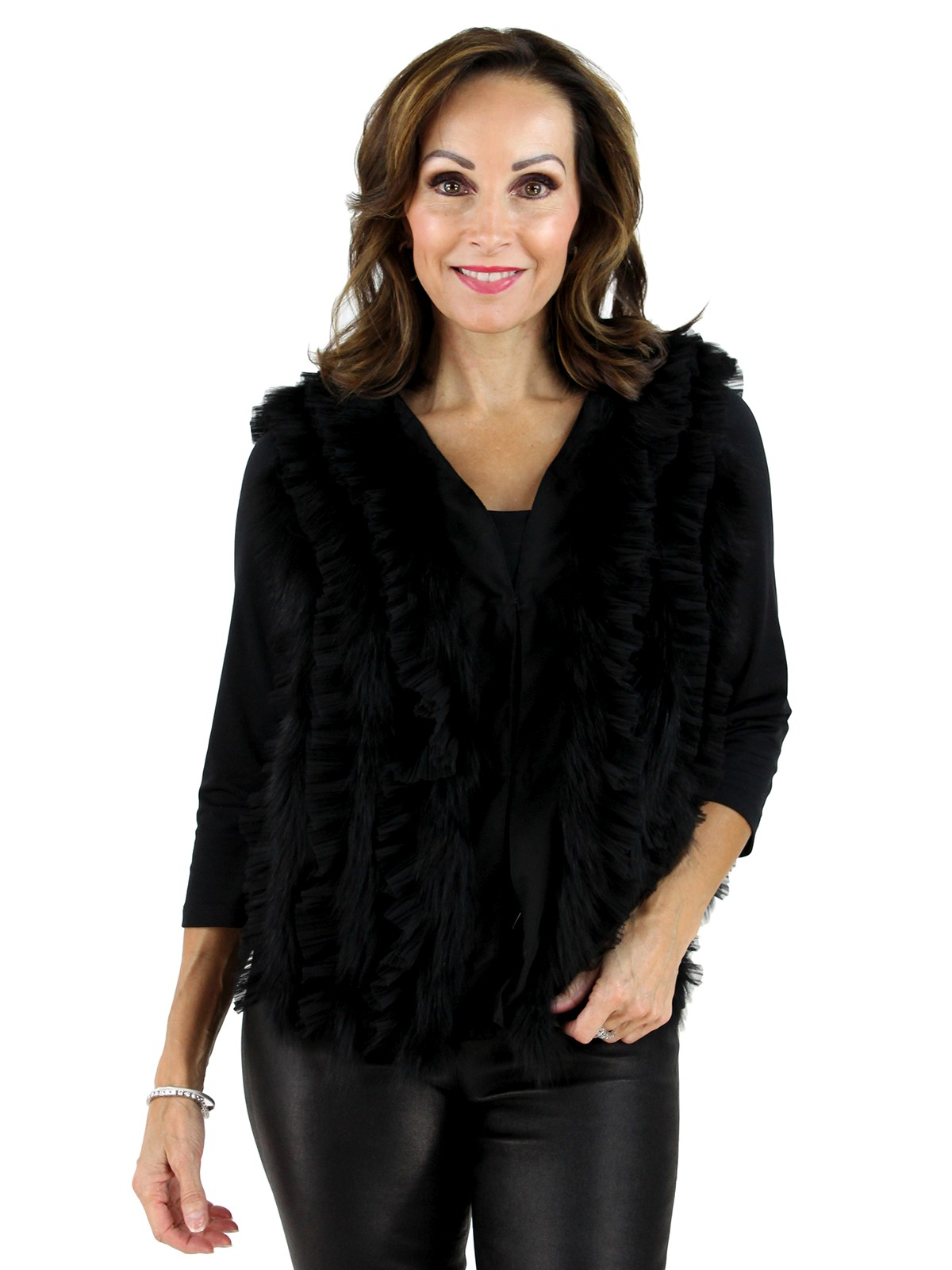 Black Chiffon Fox Fur Vest