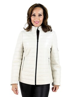 Woman's Ivory Leather Jacket
