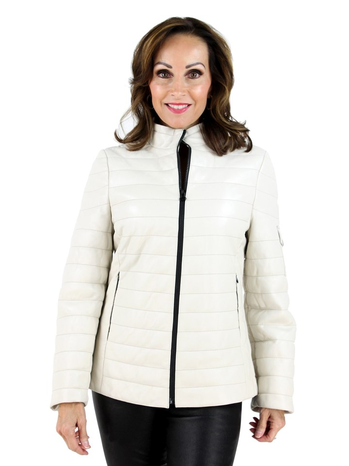 Woman's Ivory Leather Jacket