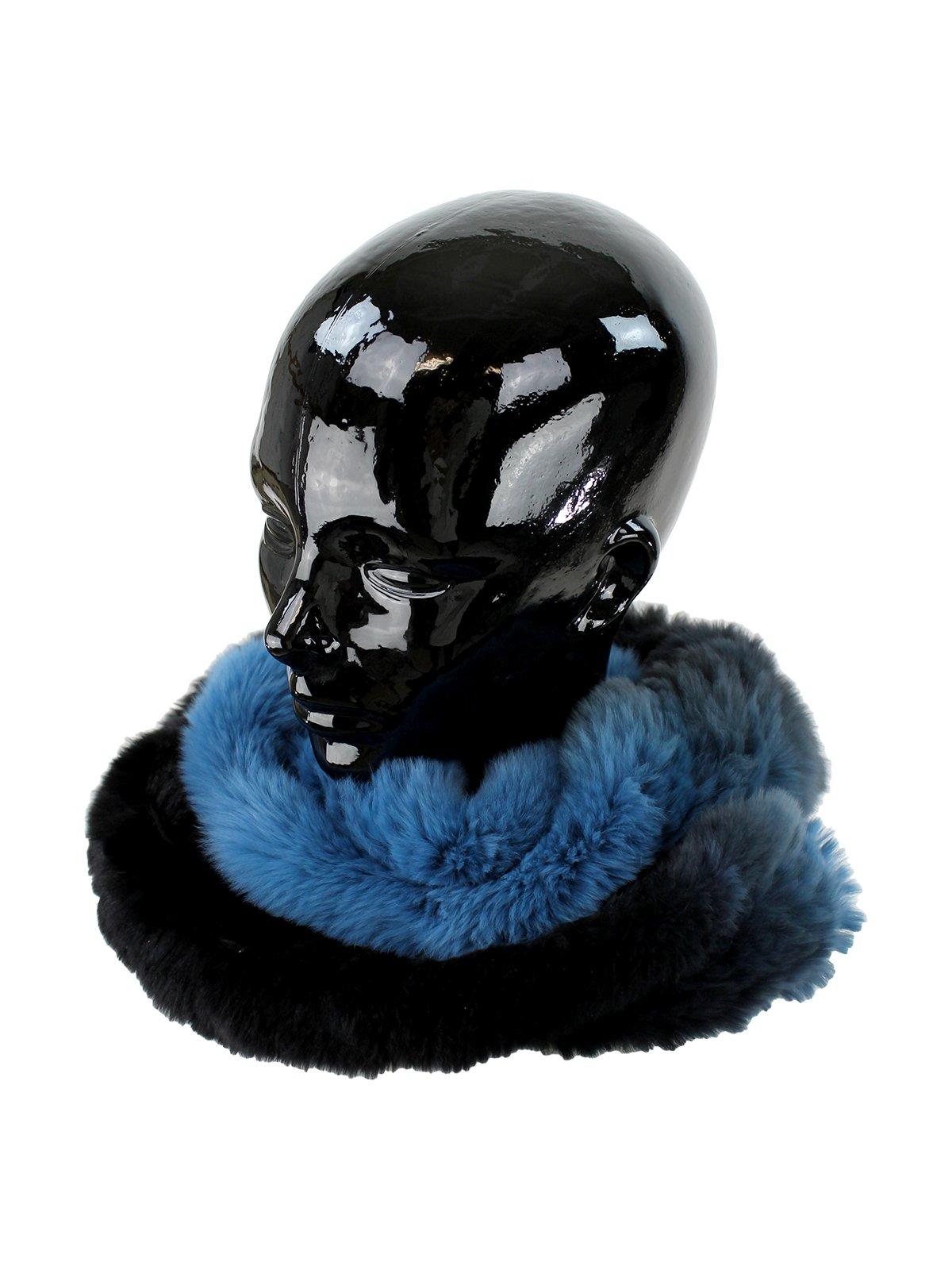 Woman's Dark Blue to Light Blue Rex Rabbit Fur Infinity Scarf