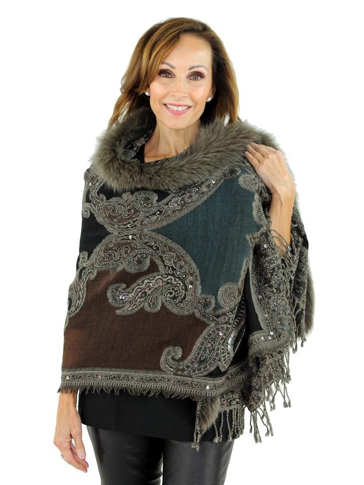 Women's Mocha Woven Wool and Fabric Wrap with Fox Fur Trim