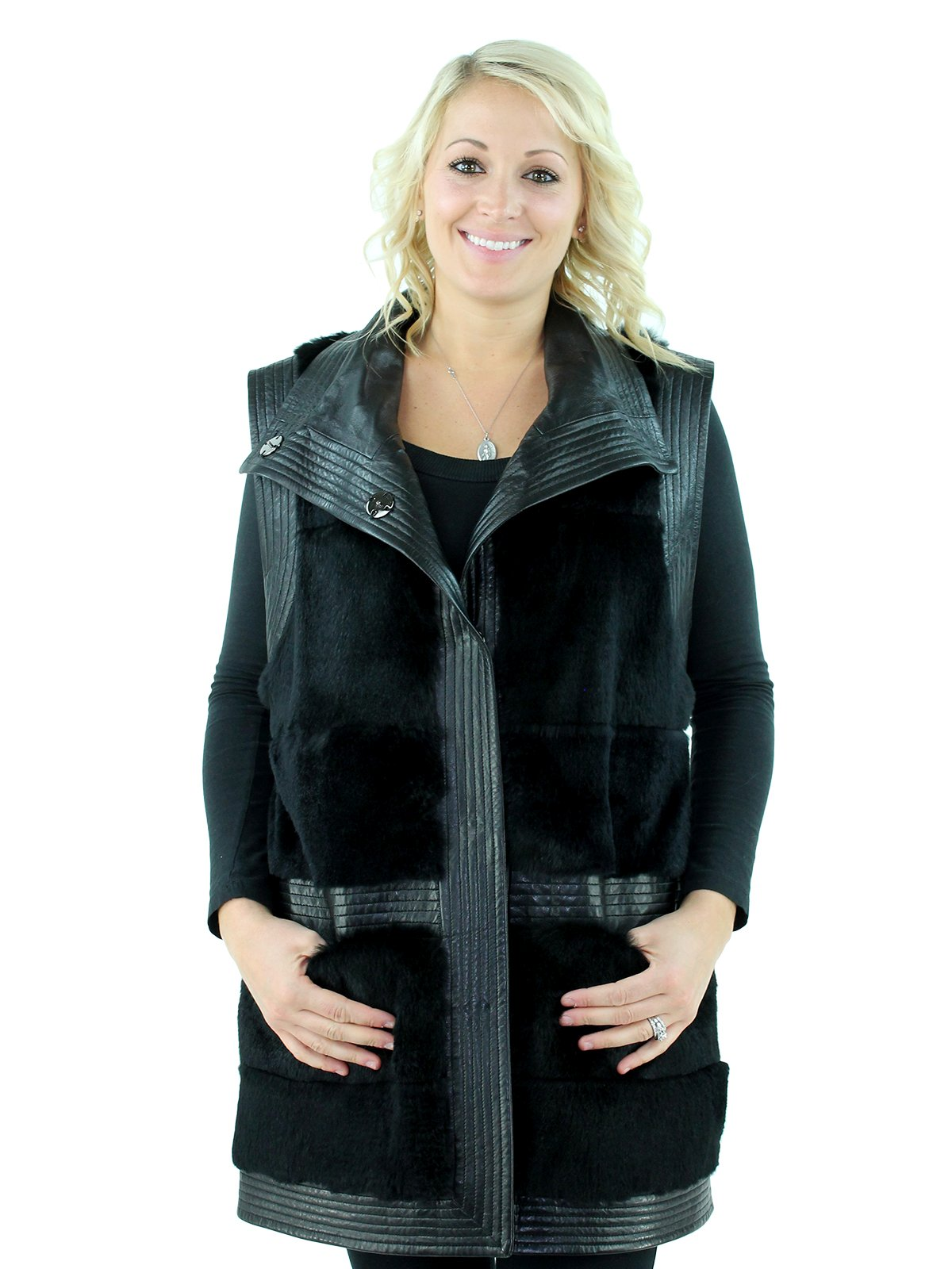 Woman's Black Sheared Rabbit Fur Vest