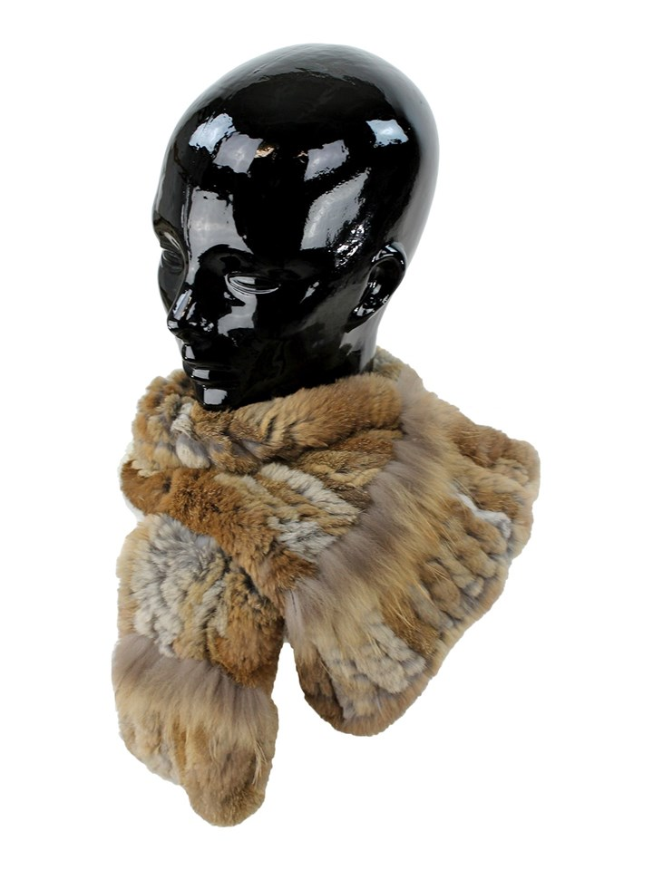 Woman's Brown and Tan Rex Rabbit Fur Pull Through Scarf