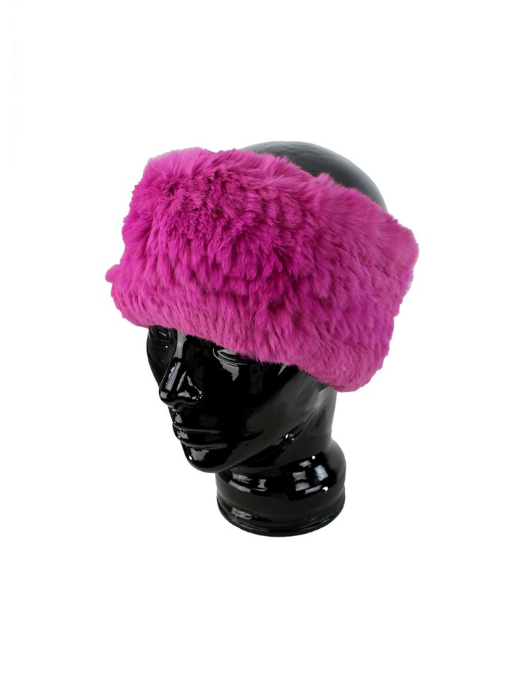 Woman's Fuschia Knit Rex Rabbit Fur Stretch Headband