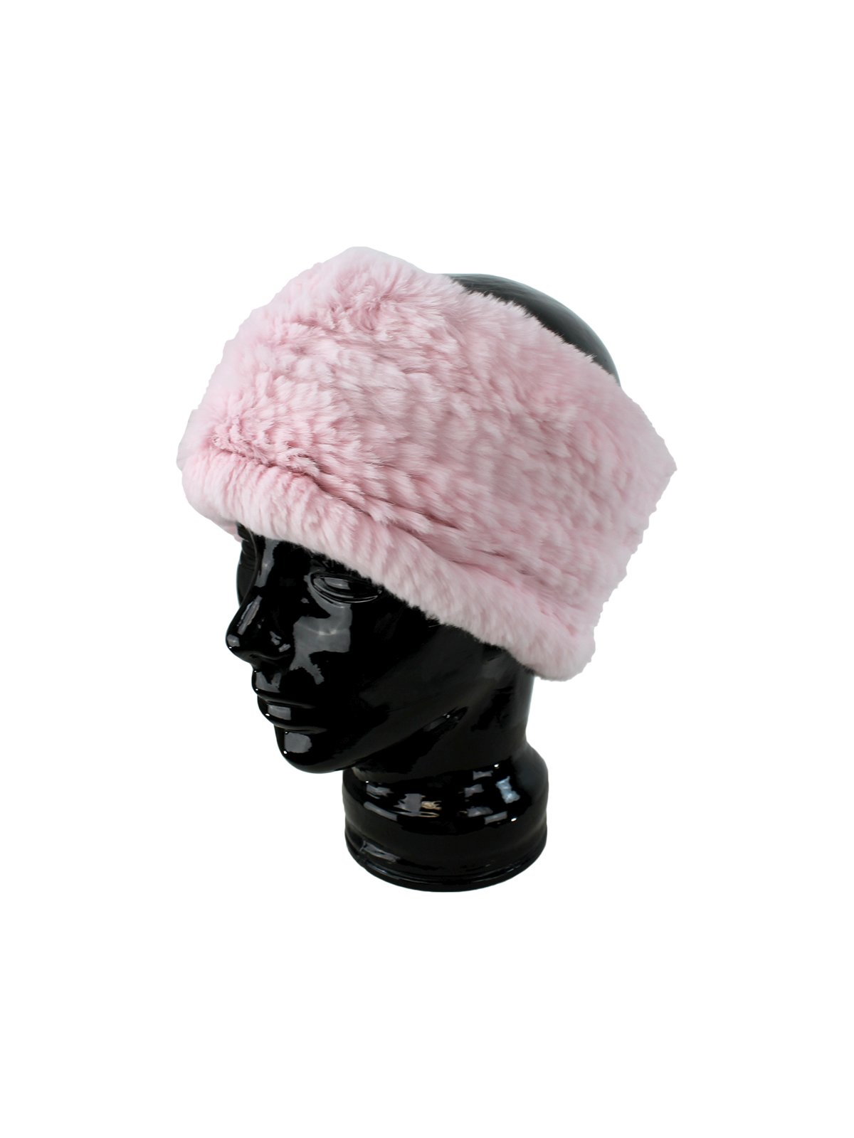 Woman's Soft Pink Rex Rabbit Fur Stretch Headband