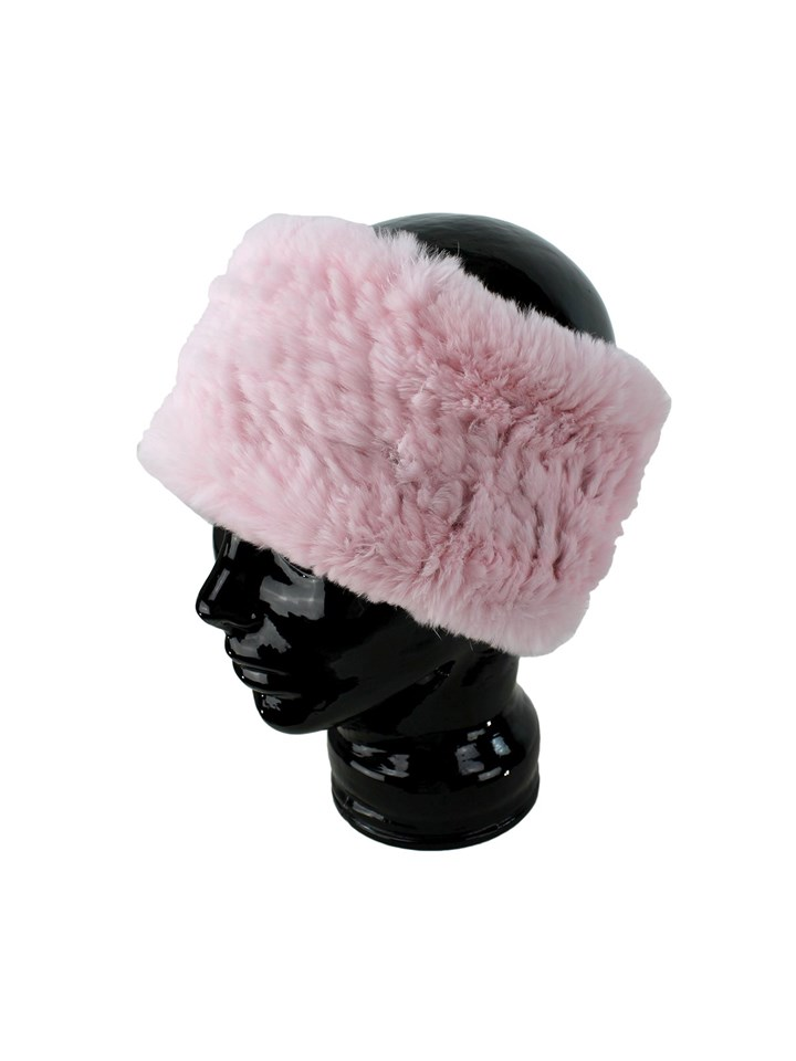 Woman's Soft Pink Knit Rex Rabbit Fur Stretch Headband
