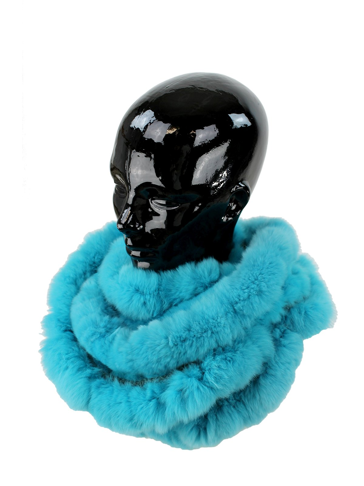 Woman's Turquoise Rex Rabbit Fur Ruffled Infinity Scarf