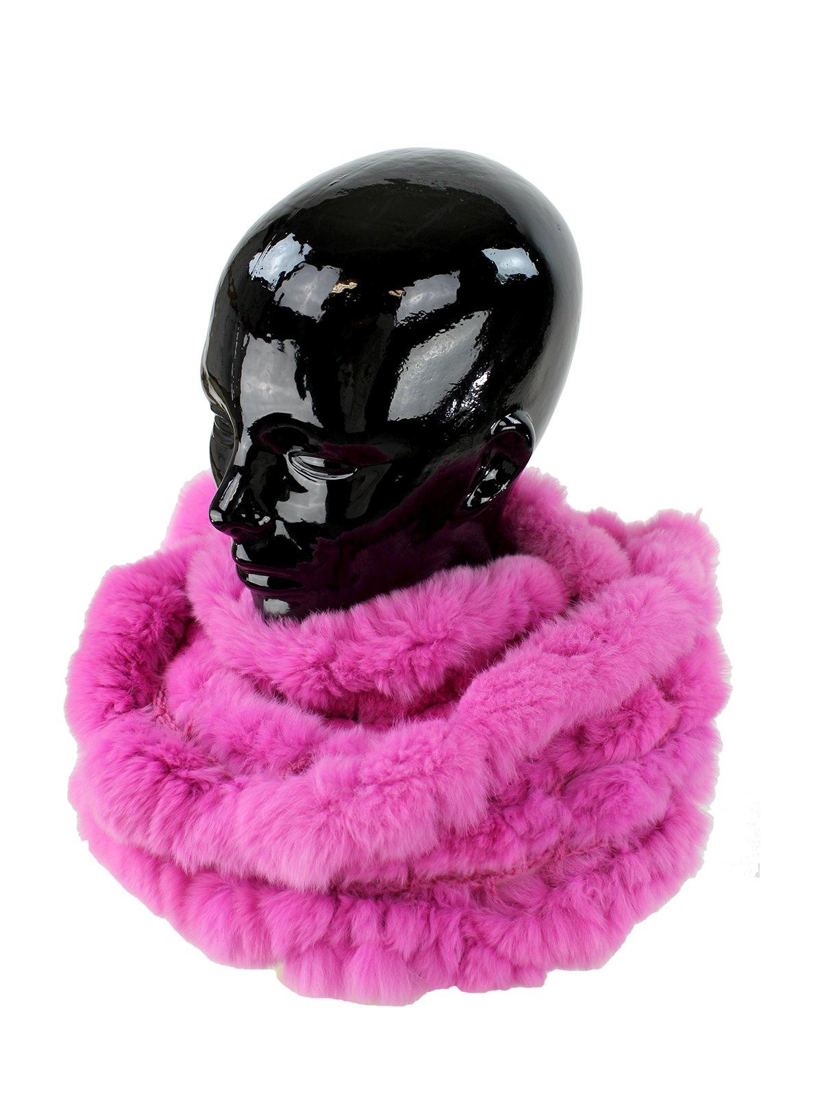 Woman's Fuschia Rex Rabbit Fur Ruffled Infinity Scarf