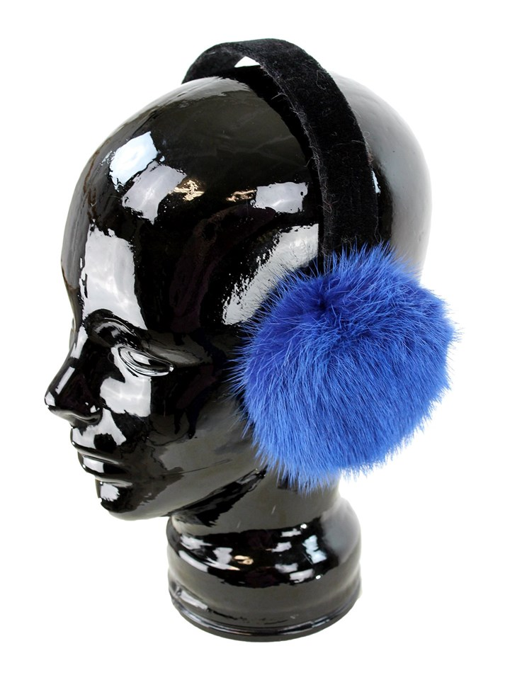 Woman's Blue Mink Fur Earmuffs