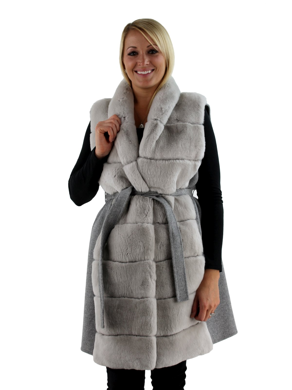 Gorski Woman's Grey Rex Rabbit Fur Vest with Wool Back