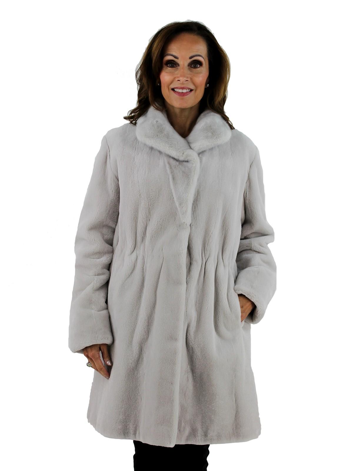 Gorski Woman's White Snow Sheared Mink Fur Stroller