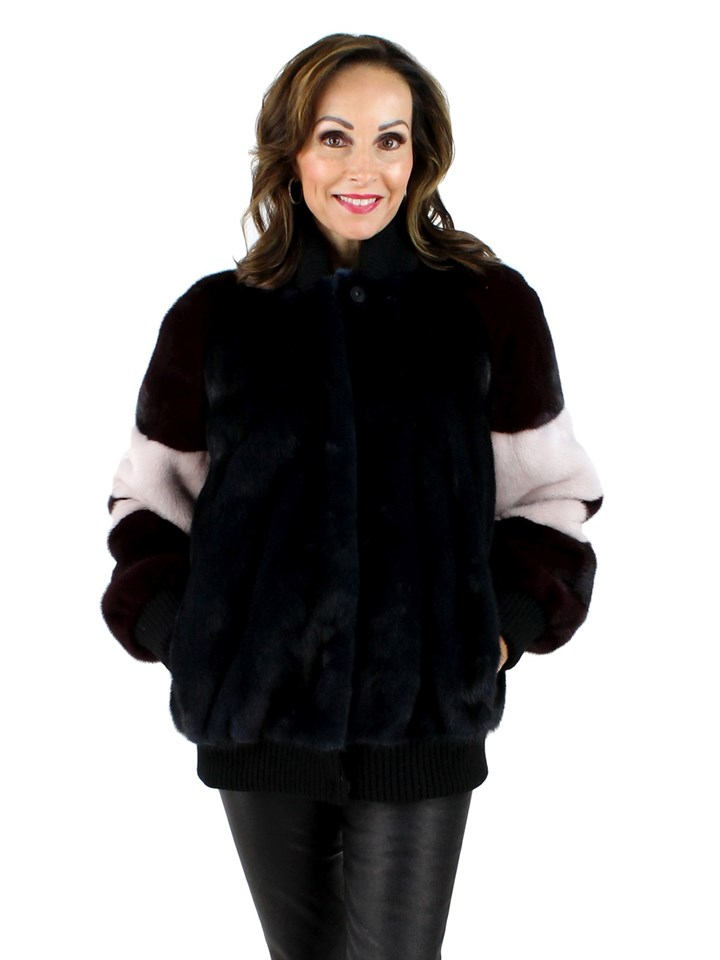 Ocean Blue Maroon Mink Fur Jacket
