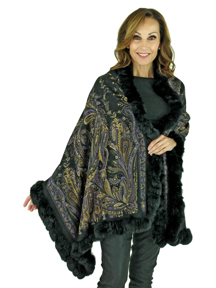 Gorski Woman's Black Paisley Cashmere Wool Stole with Rex Rabbit Trim
