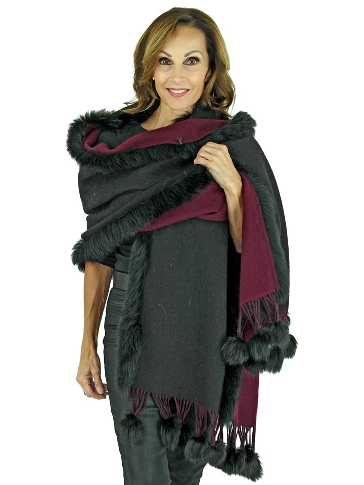 Woman's Black and Wine Cashmere Wool Stole with Fox Trim