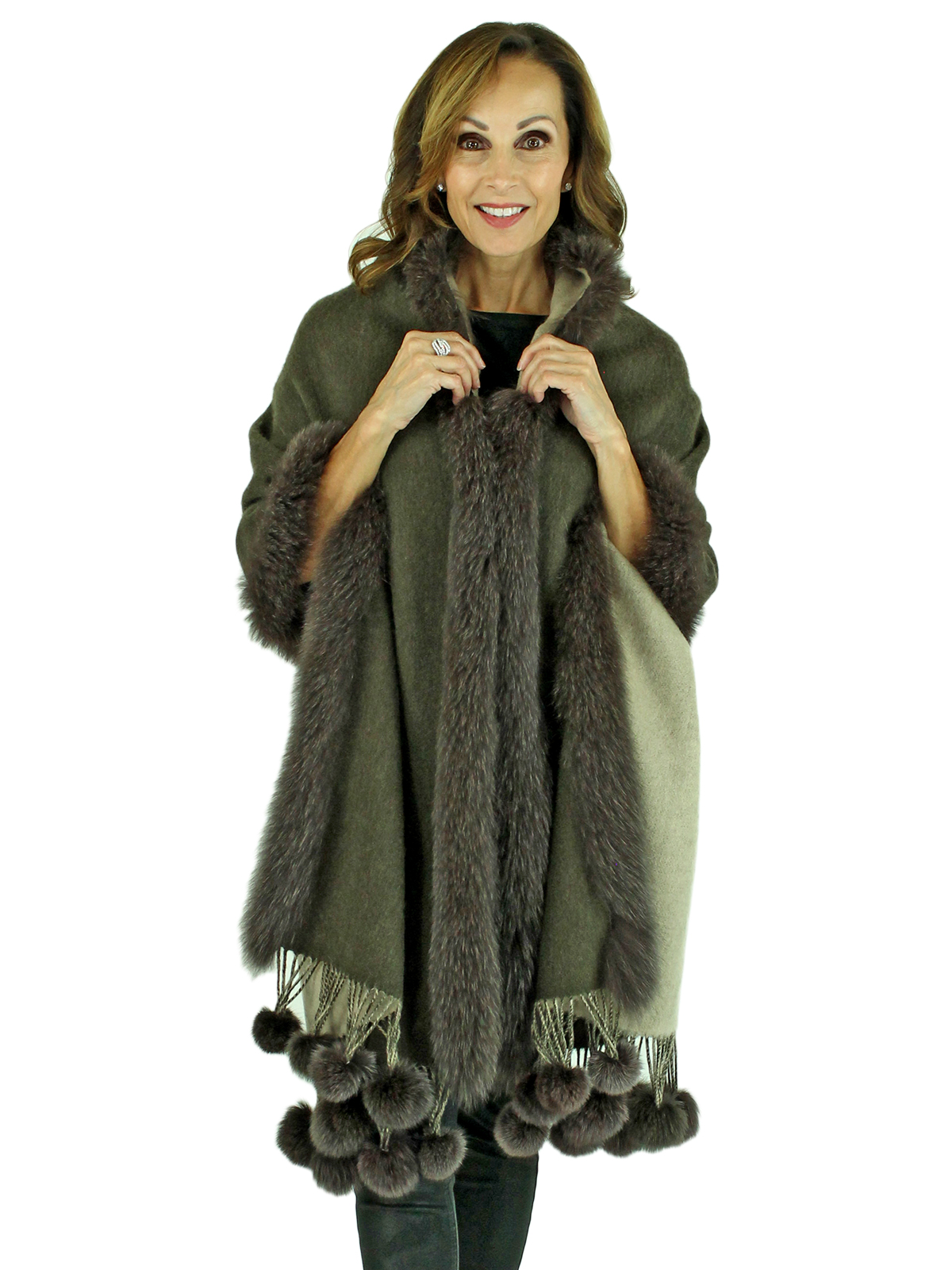Gorski Woman's Brown and Beige Cashmere Wool Shawl with Fox Trim