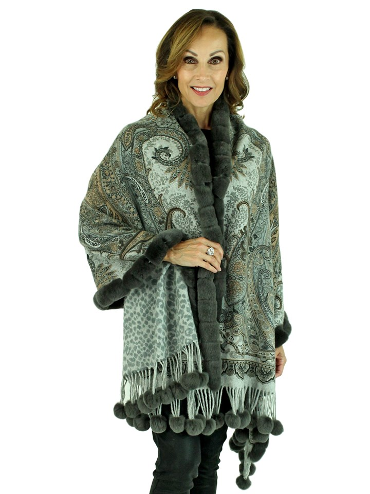 Gorski Woman's Grey Paisley Cashmere Wool Stole with Rex Rabbit Trim