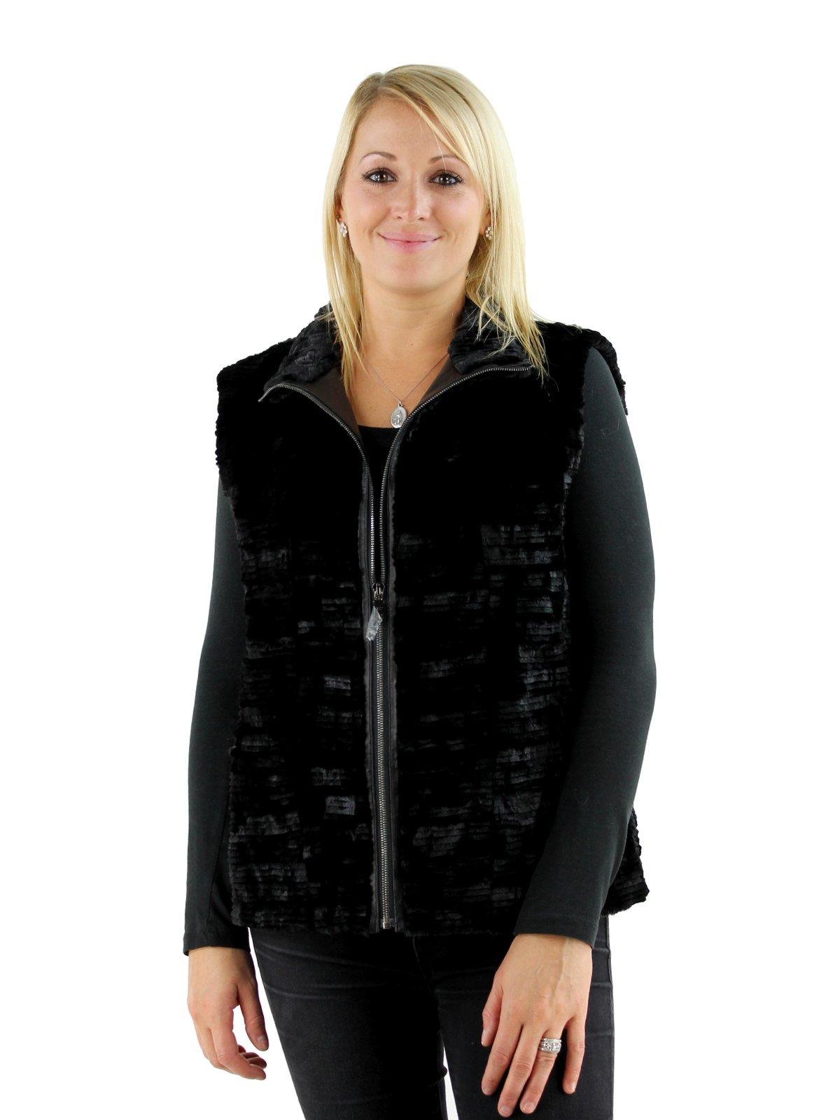 Gorski Woman's Black Grooved Mink Section Fur Vest
