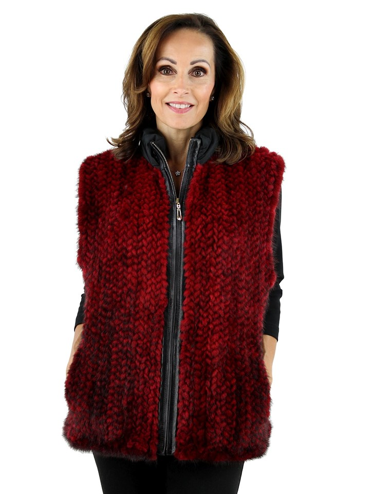 Woman's Red and Black Knit Mink Fur and Black Taffeta Vest