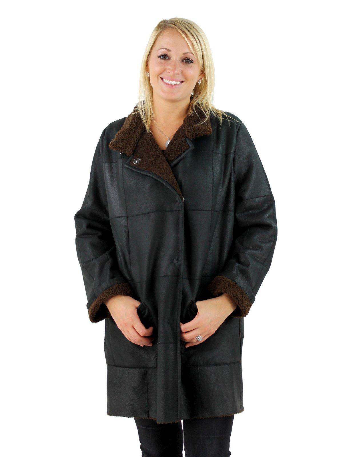 Woman's Black and Cognac Shearling Lamb Jacket