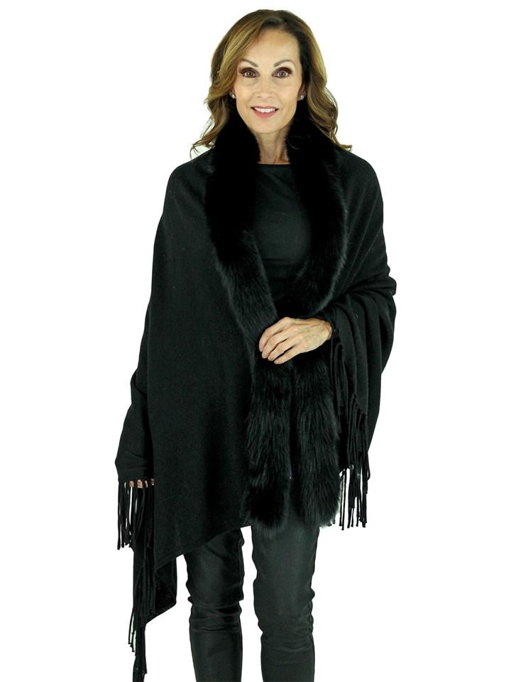 Woman's Black Cashmere Wool Knit Shawl with Fox Trim