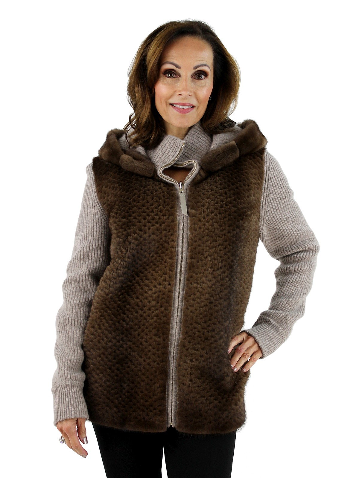 Gorski Woman's Scanglow Punched Mink Fur and Taupe Cashmere Wool Jacket