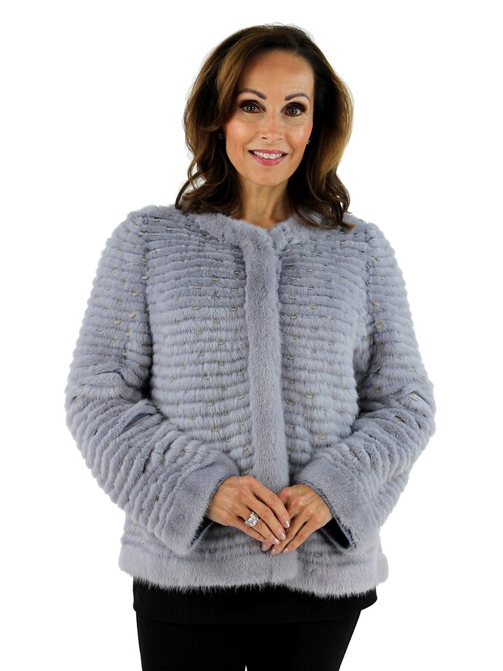 Gorsk Woman'si Baby Blue Layered Mink Fur Jacket