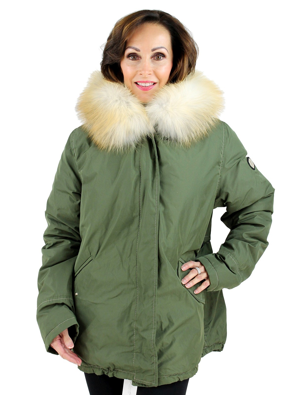 Gorski Woman's Sage Parka with Red Fox Fur Trimmed Hood