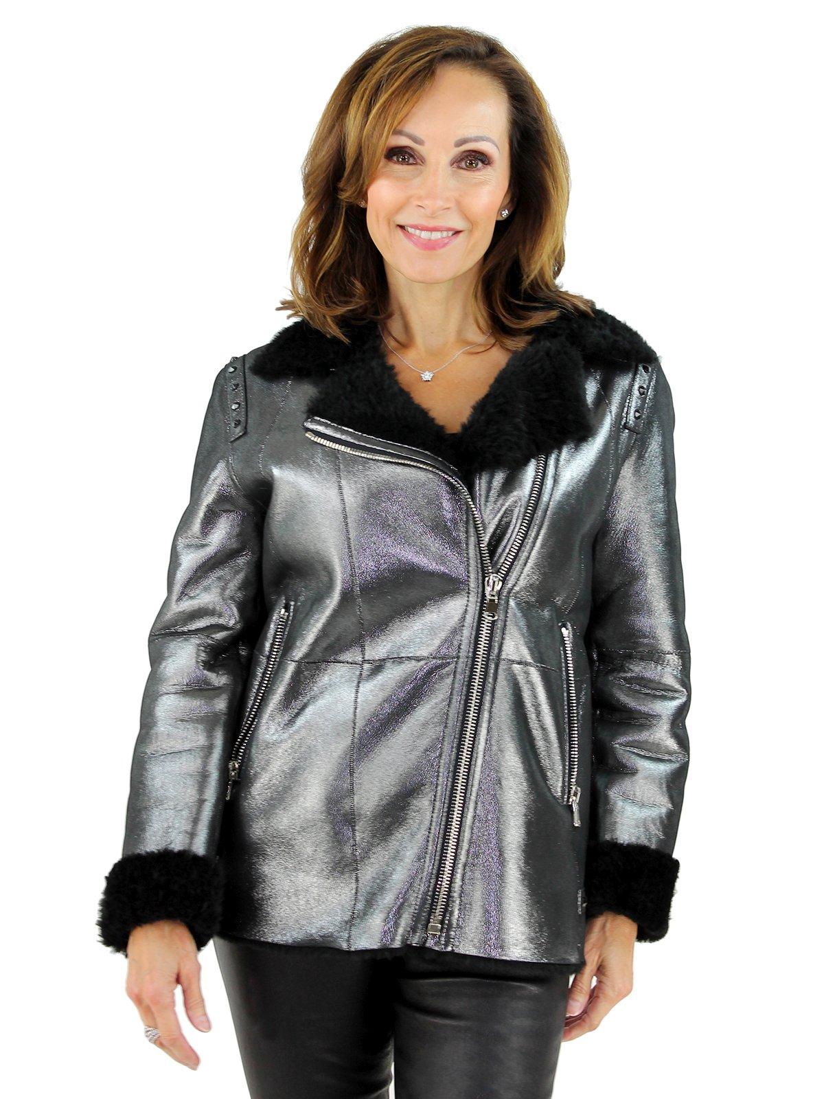 Woman's Metallic and Black Shearling Lamb Moto Zipper Jacket