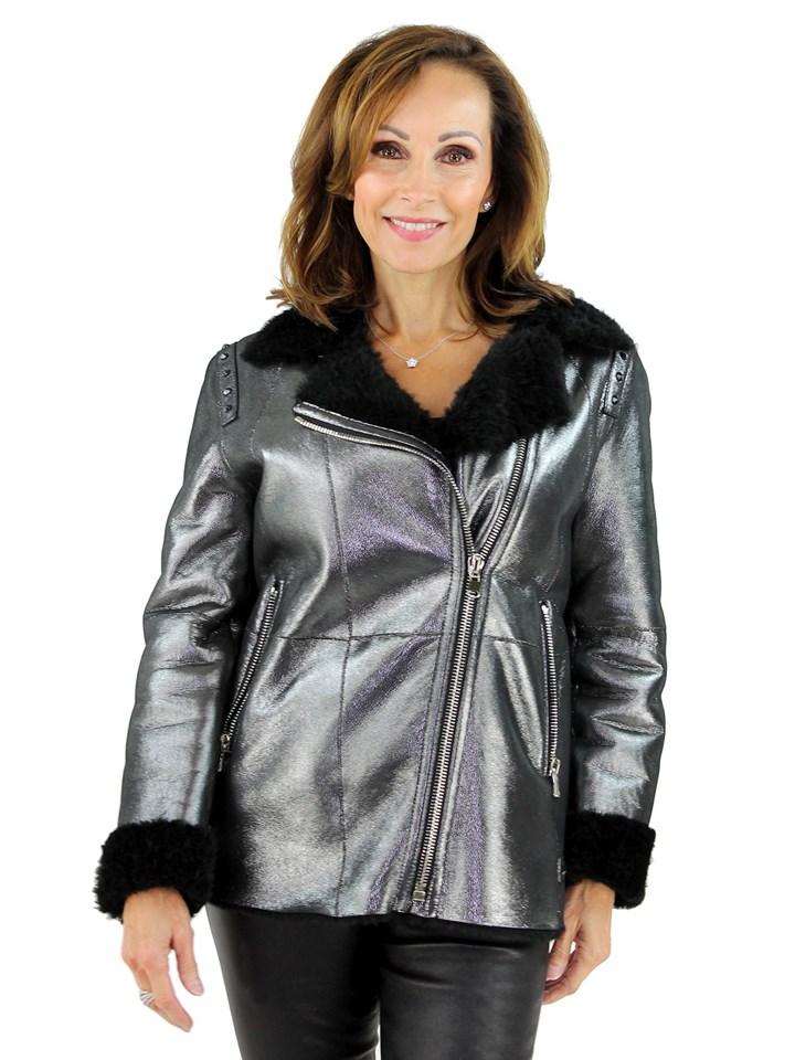 Woman's Metallic and Black Shearling Lamb Moto Zipper Jacket