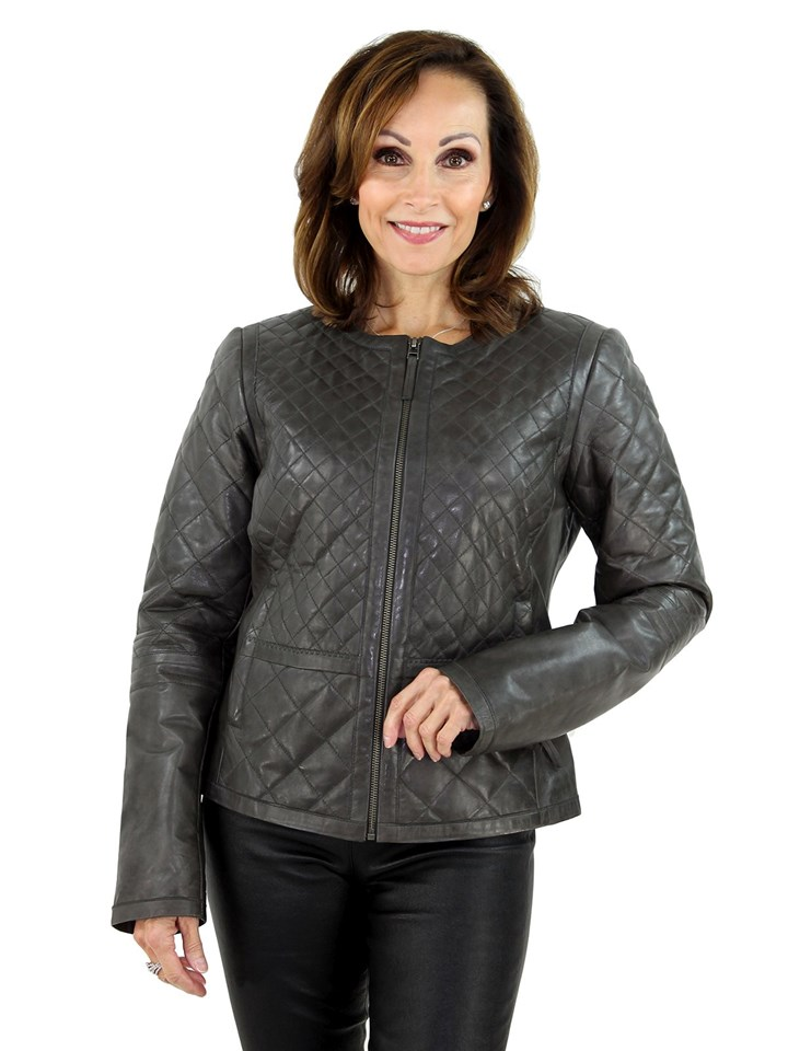 Women's Grey Leather Zipper Jacket