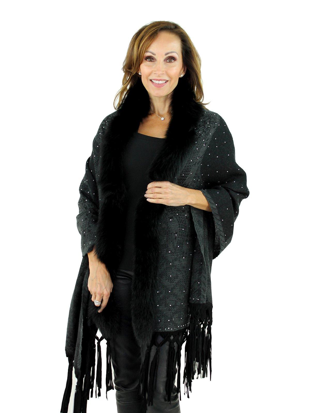 Women's Black Woven Wool Wrap with Black Fox Fur Trim