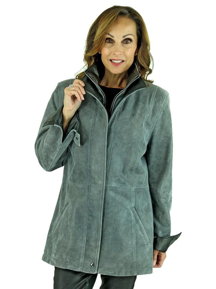 Woman's Atlantic Grey Leather Jacket