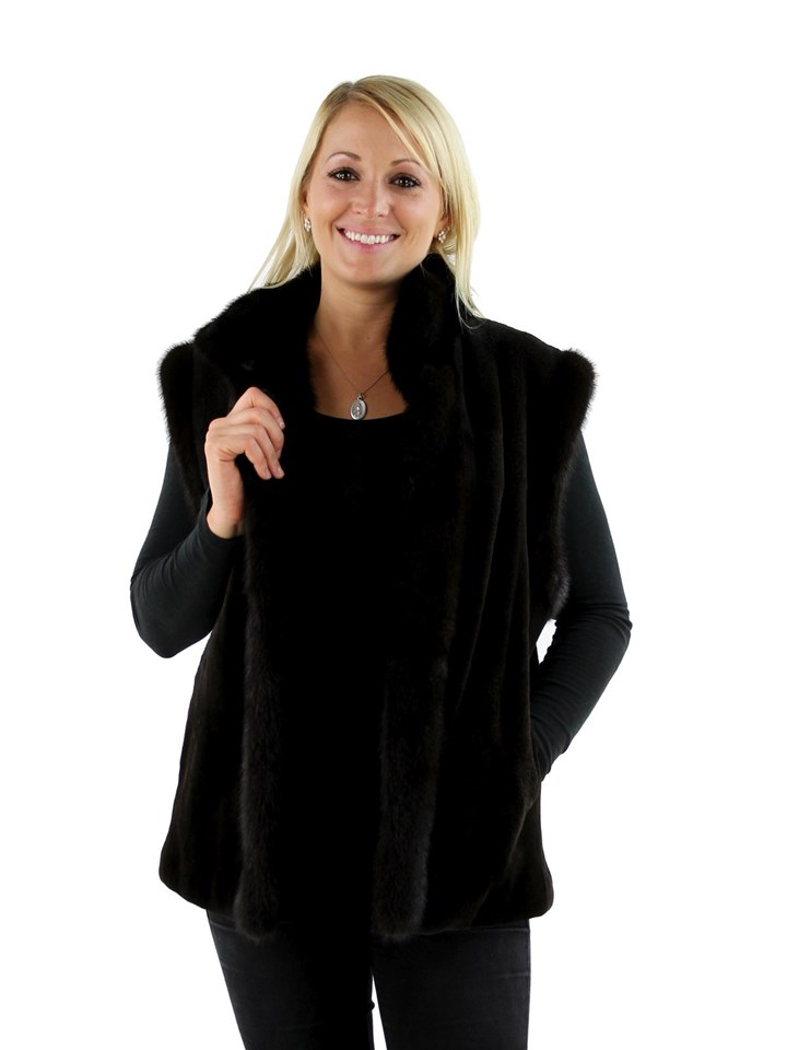 Woman's Brown Sheared Mink Fur Vest with Tradition Mink Trim