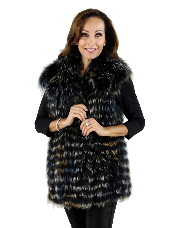 Woman's Multi Colored Silver Fox Fur Vest